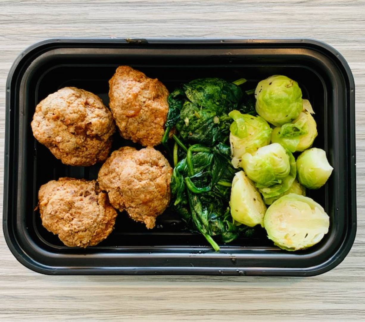 Beef Meatballs, Spinach and Brussel Sprouts