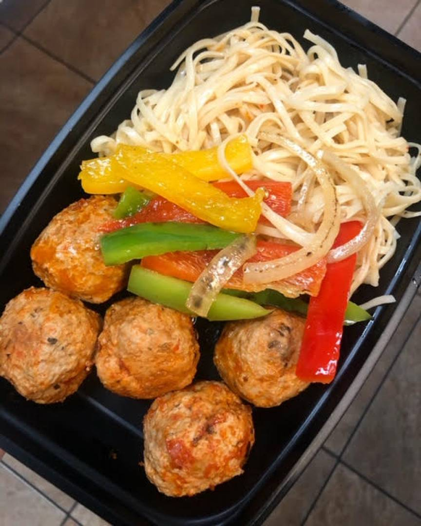 Beef Meatballs, Pasta and Peppers