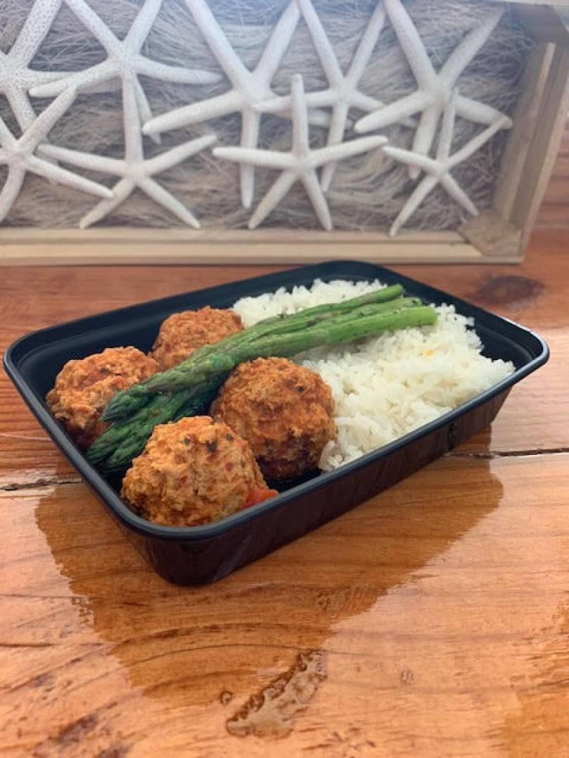 Turkey Meatball, Jasmine Rice and Asparagus