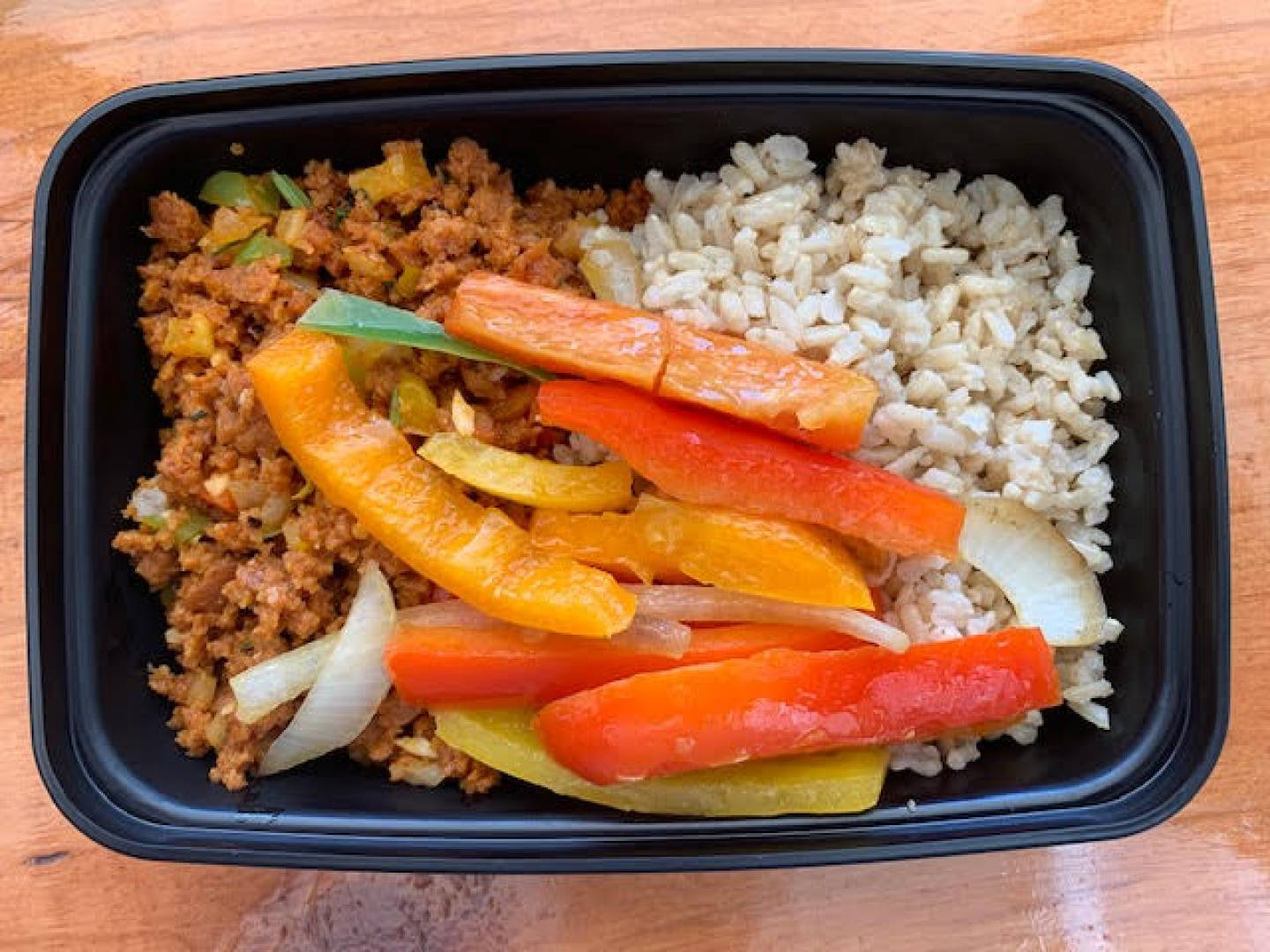 Vegan Chorizo, Brown Rice and Tri Color Peppers