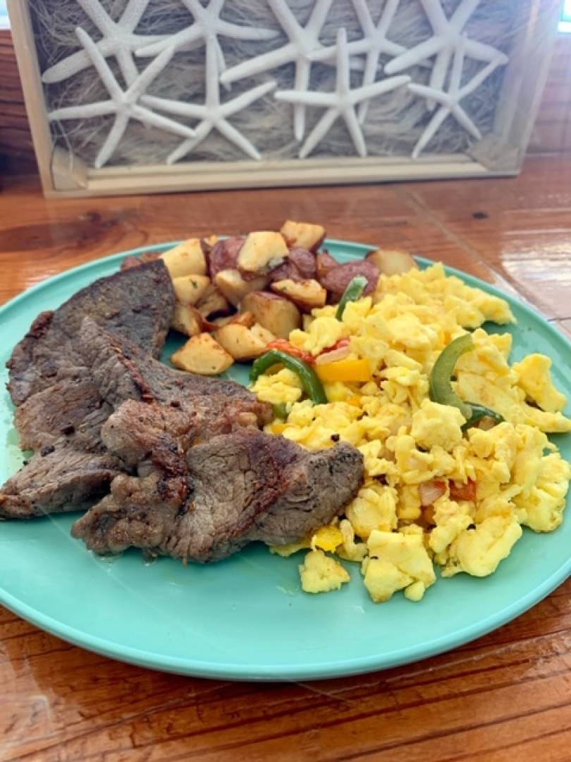 Steak, Scramble Eggs and Potatoes