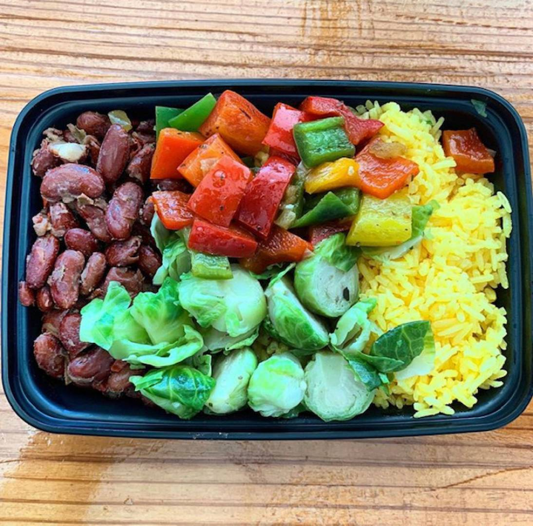 Red Beans, Yellow Rice, Tri Color Peppers and Brussels Sprouts