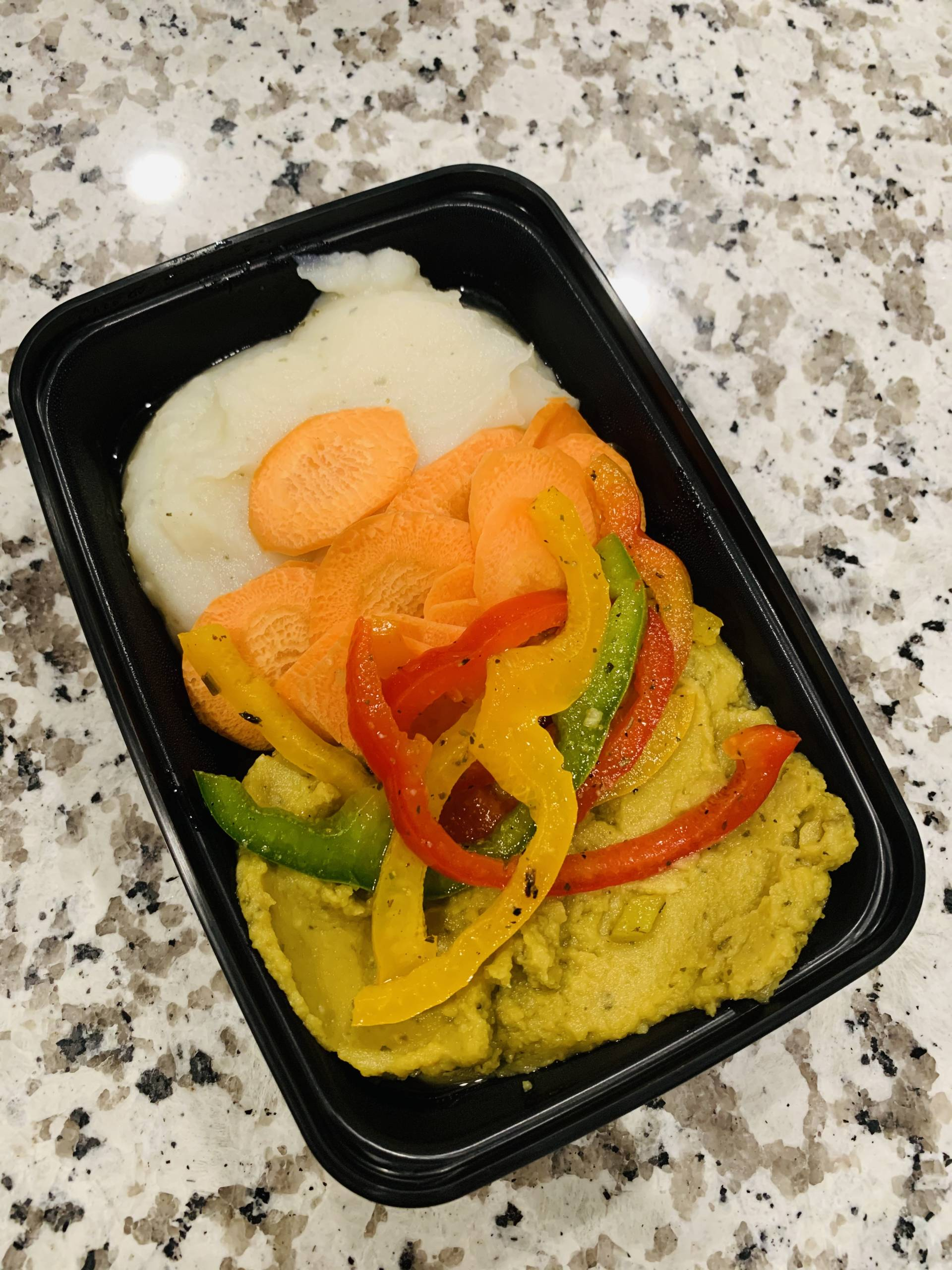 Chicharo, Mashed Potatoes, Carrots and Peppers