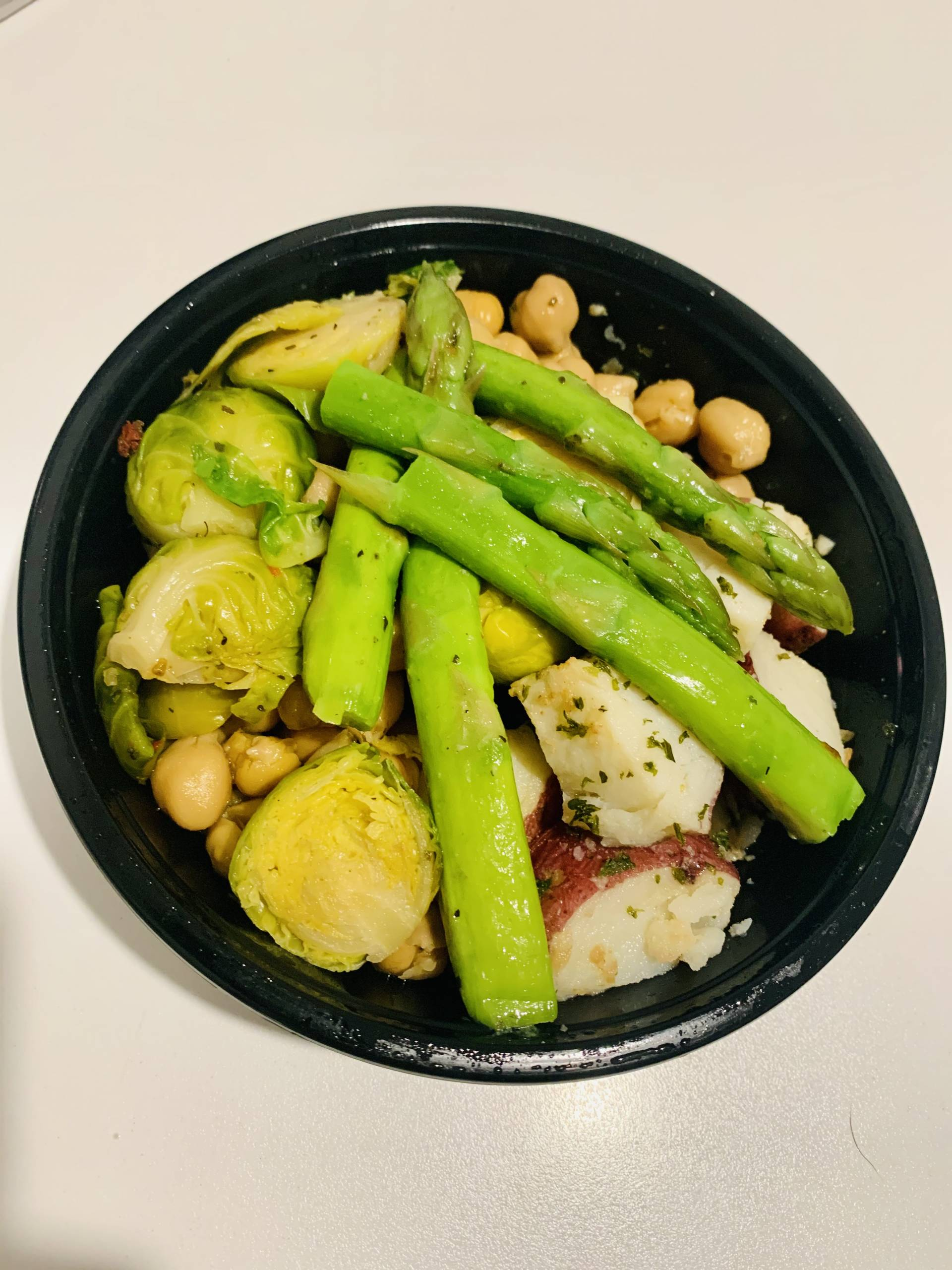 Garbanzo Beans, Red Potato, Asparagus and Brussel