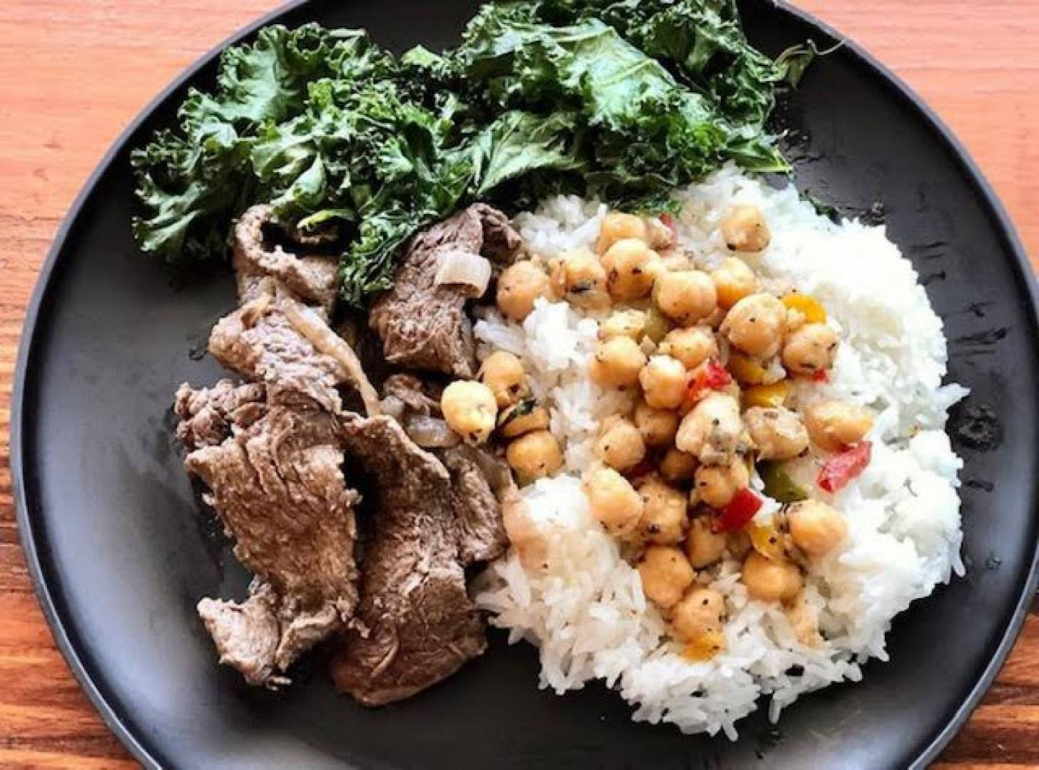 Steak, Jasmine Rice, Garbanzo Beans and Kale