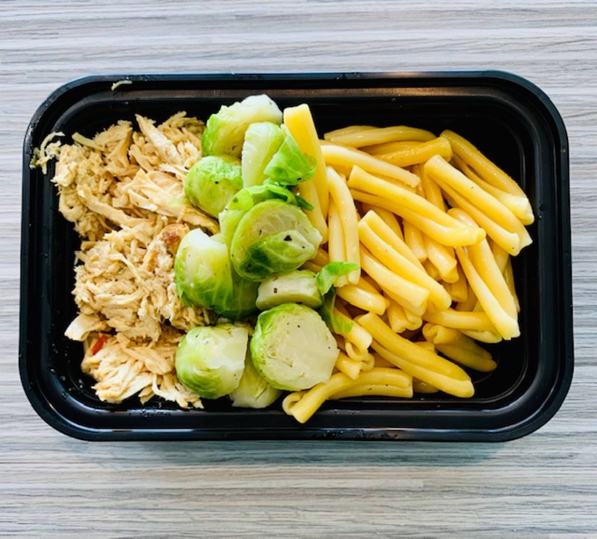 Shredded Chicken, Organic Pasta and Brussel Sprouts