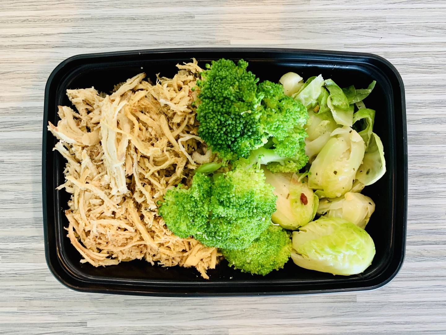 Shredded Chicken, Broccoli and Brussel Sprouts