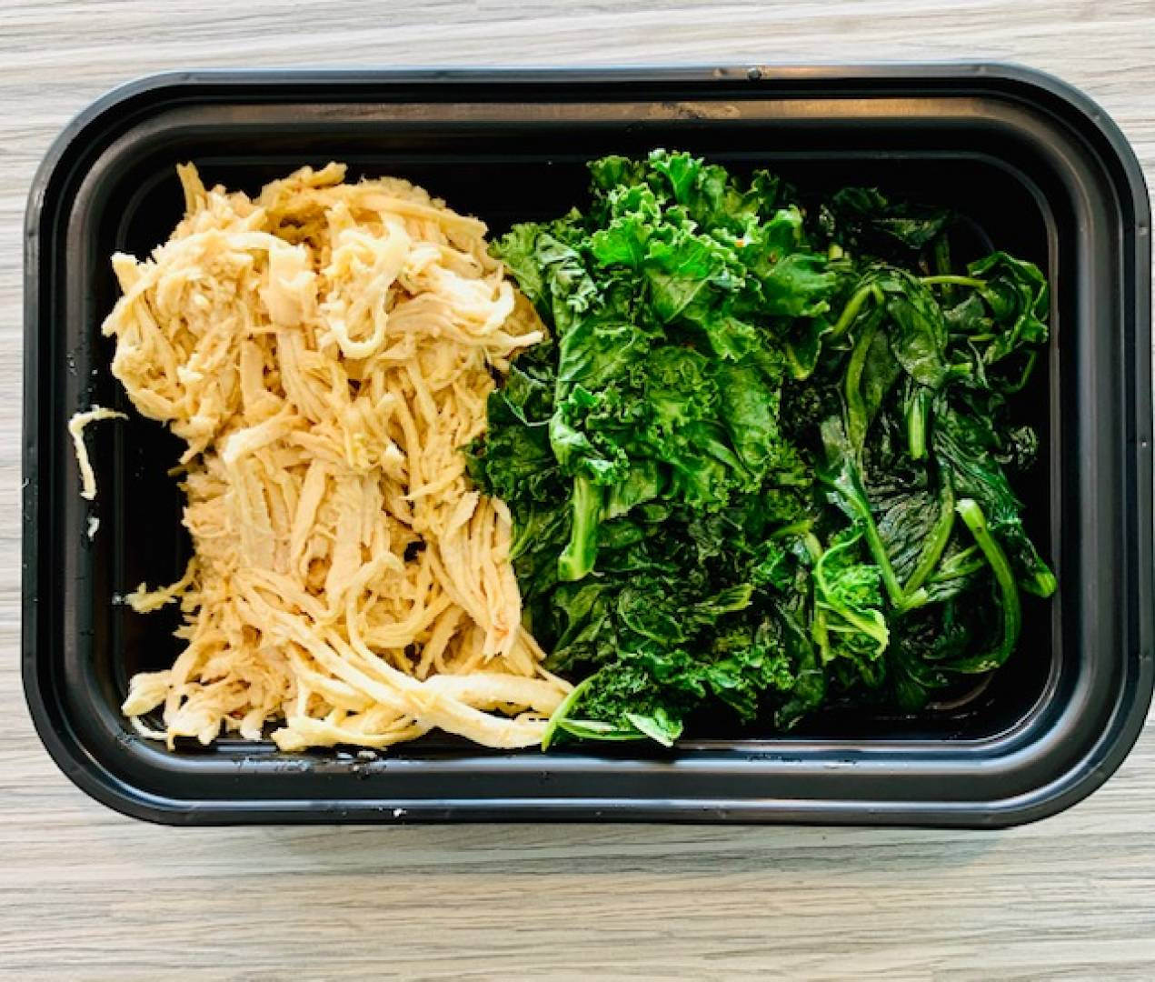 Shredded Chicken, Kale and Spinach