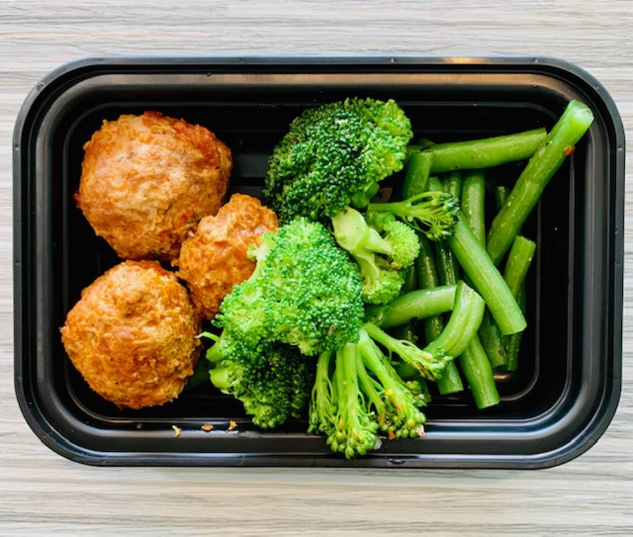 Beef Meatballs, Broccoli and Green Beans