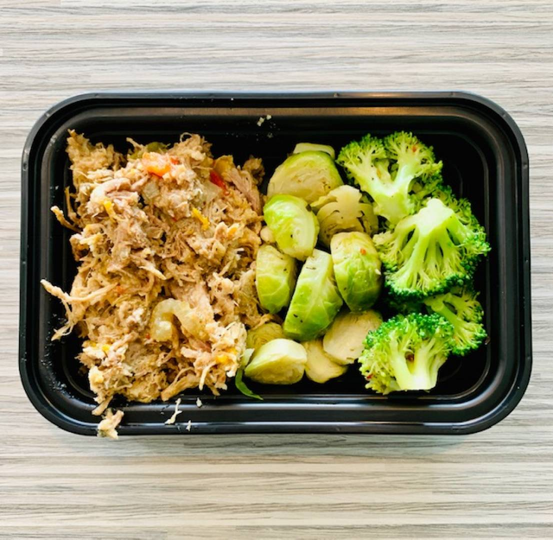 Pulled Pork, Broccoli and Brussel Sprouts