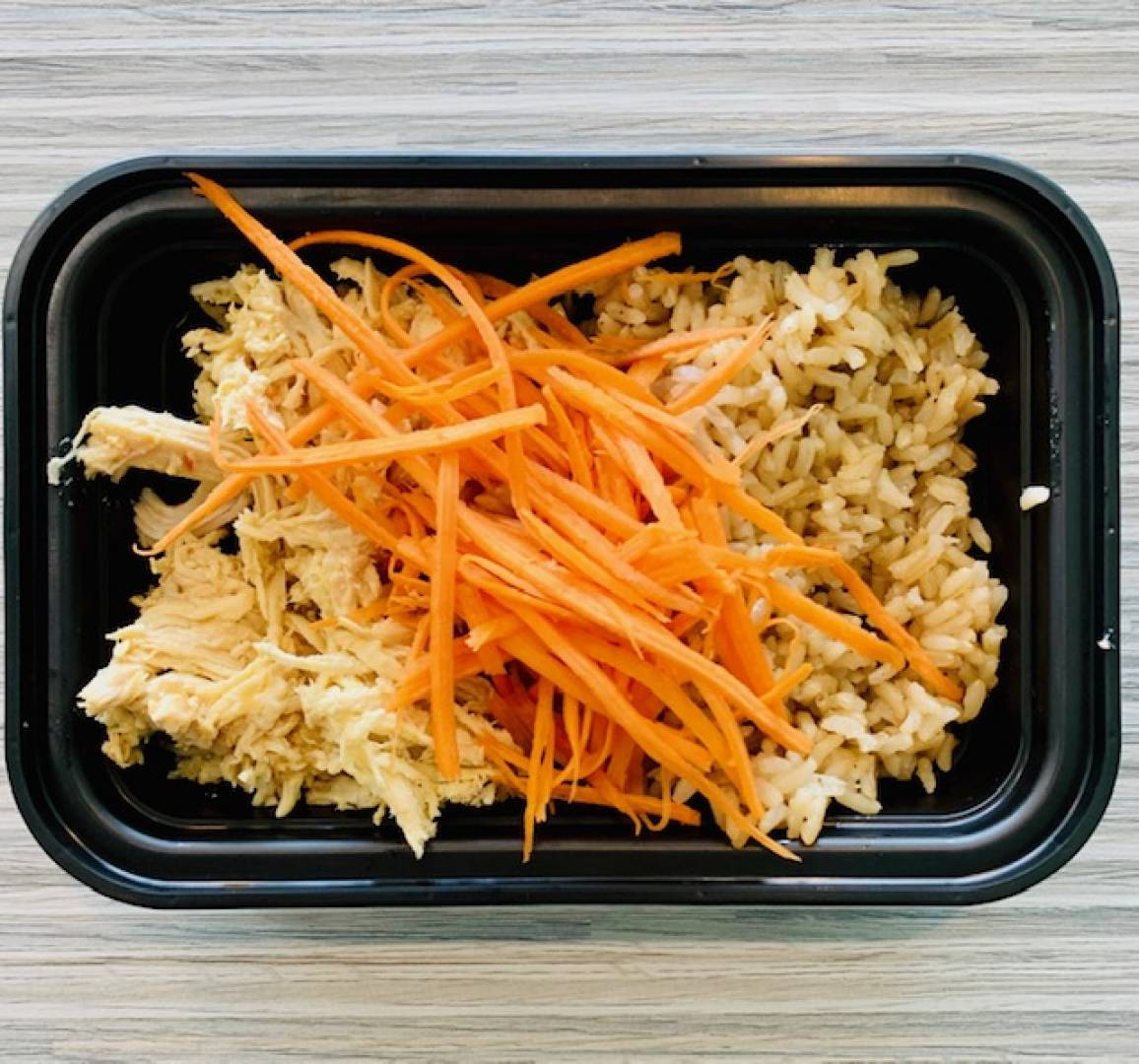 Shredded Chicken, Brown Rice and Carrots