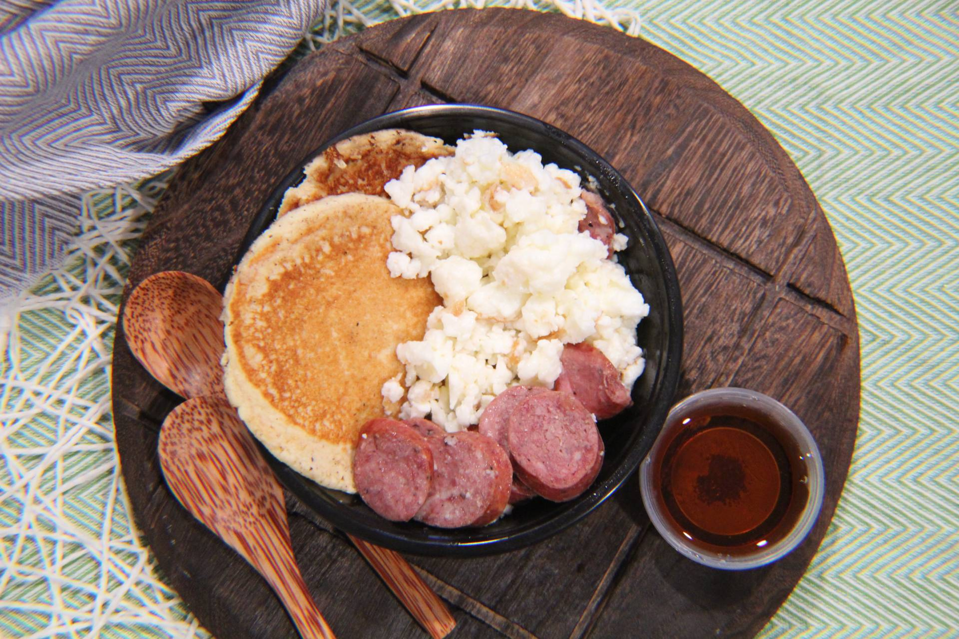 Scramble Egg Whites, Sausage and Paleo Pancakes
