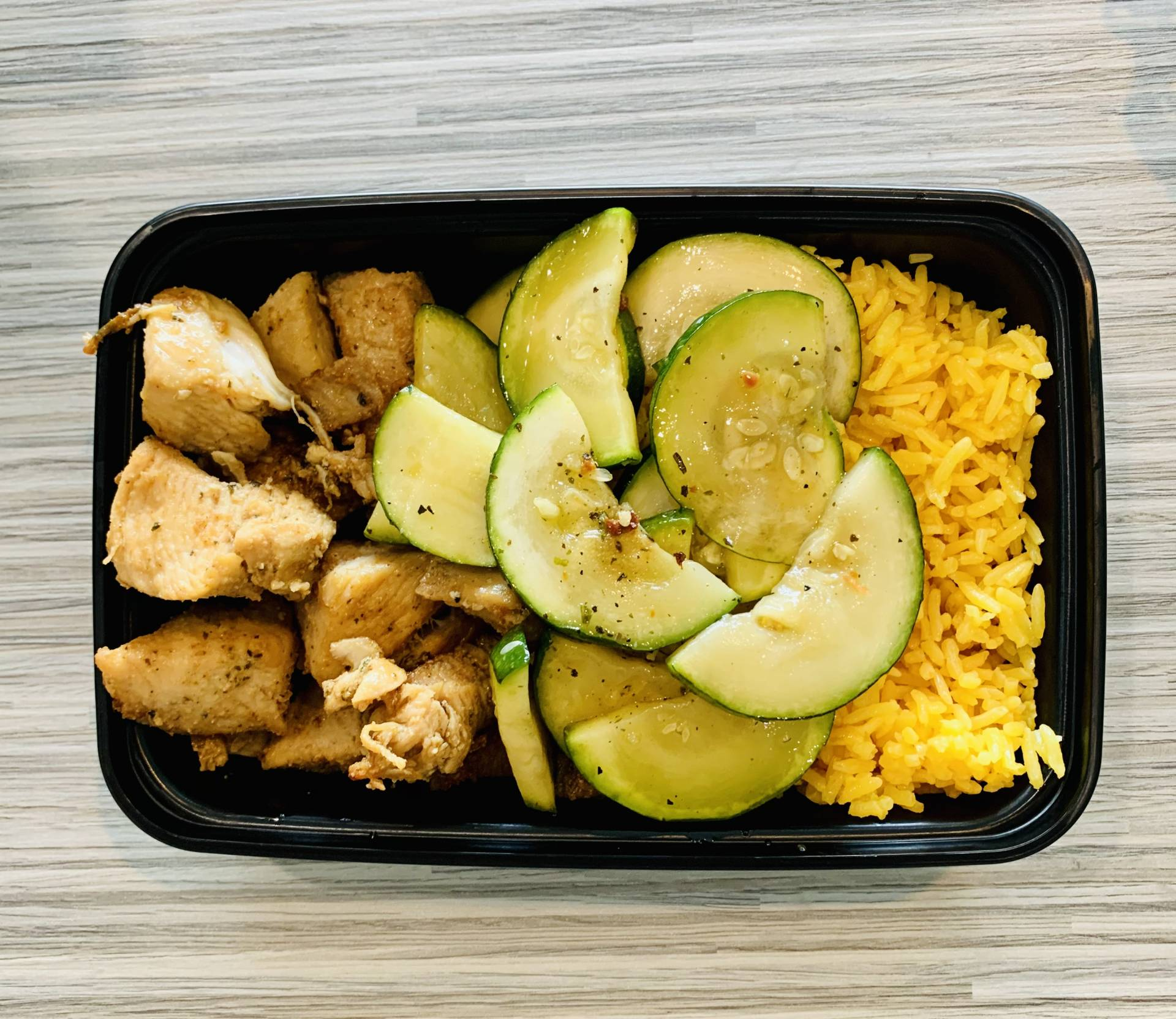 Grilled Chicken, Yellow Rice, Zucchini