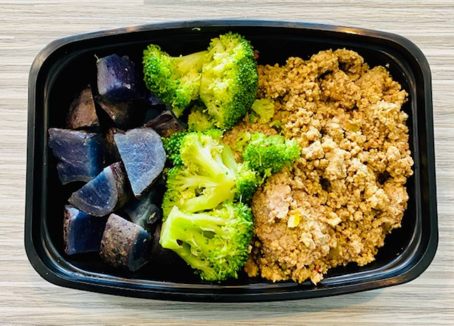Ground Turkey, Purple Potato and Broccoli