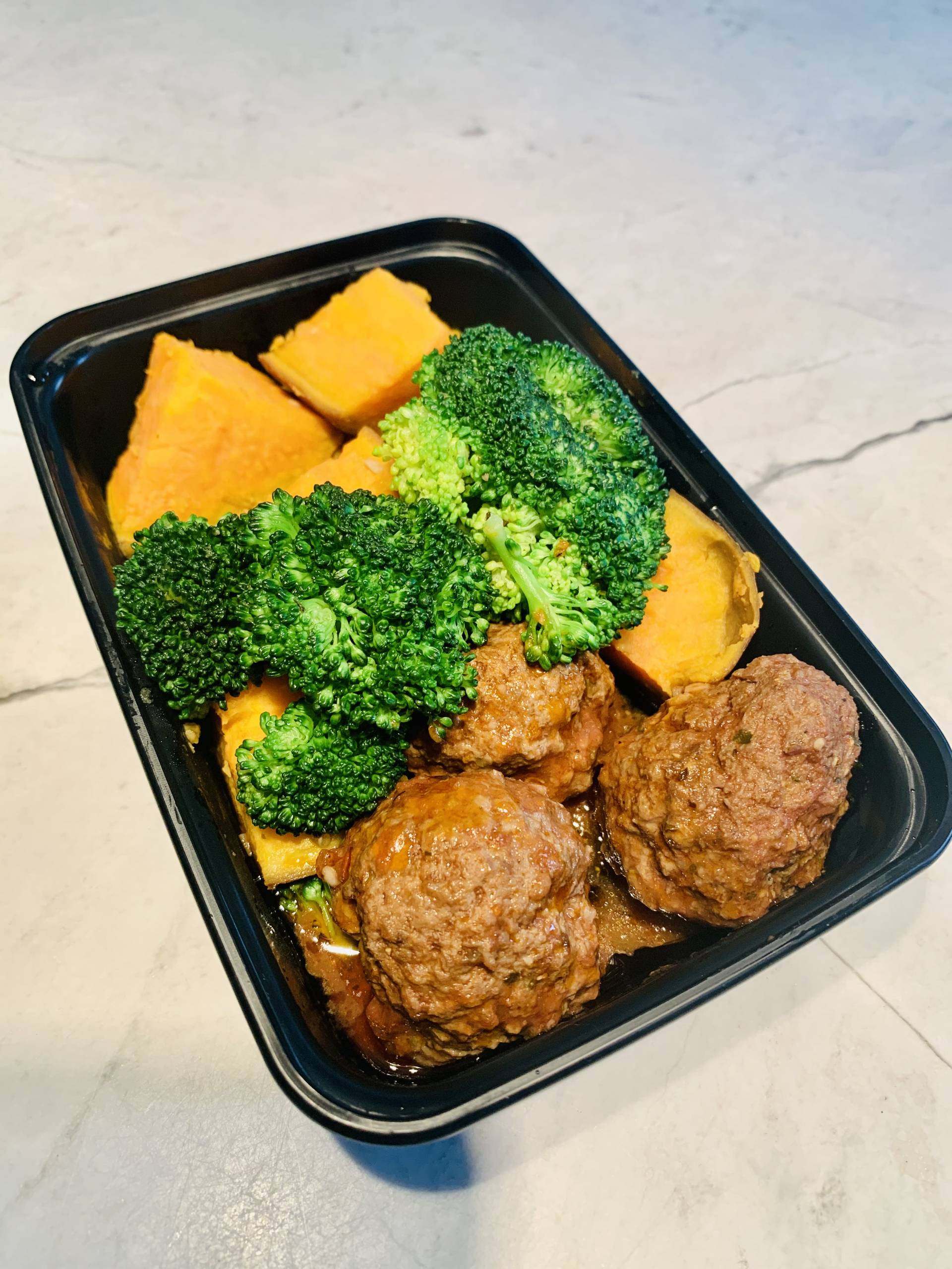 Beef Meatballs, Sweet Potato and Broccoli