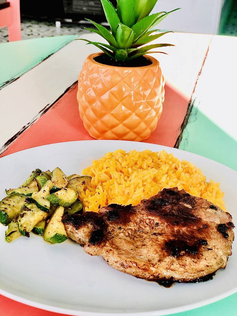Pork Chop, Yellow Rice and Zucchini