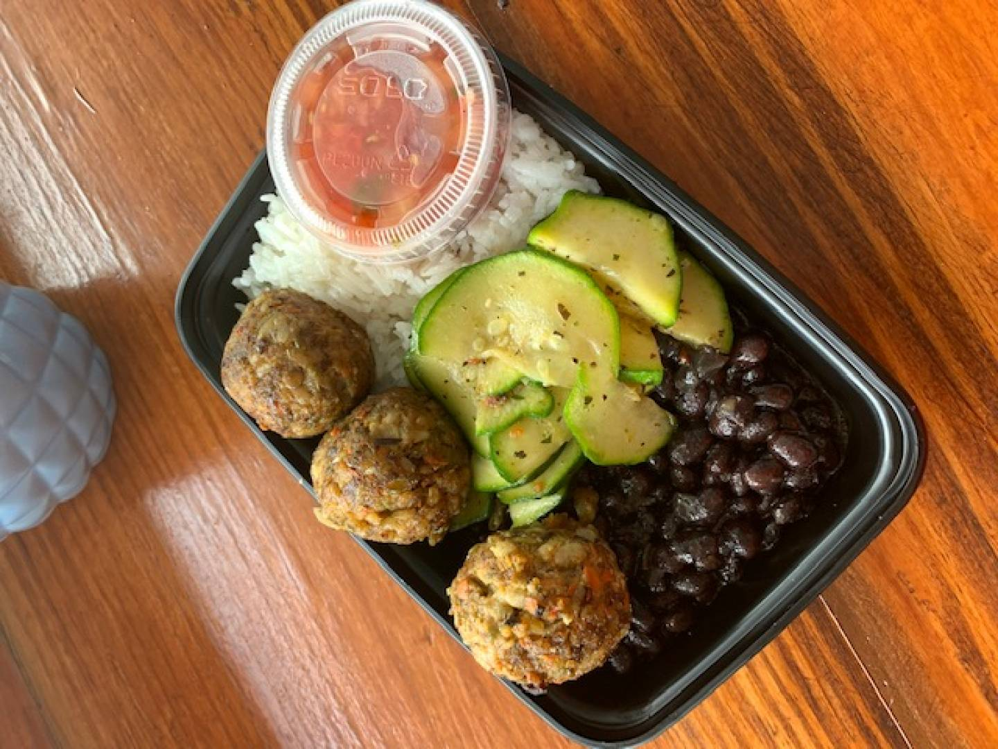 Organic Vegan Meatballs, Jasmine Rice, Black Beans and Zucchini