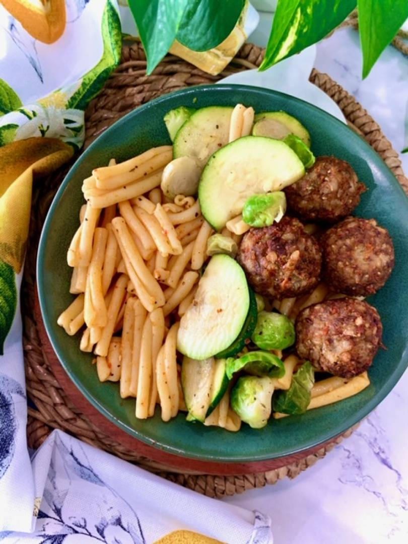 Organic Vegan Meatballs, Pasta and Zucchini and Brussels