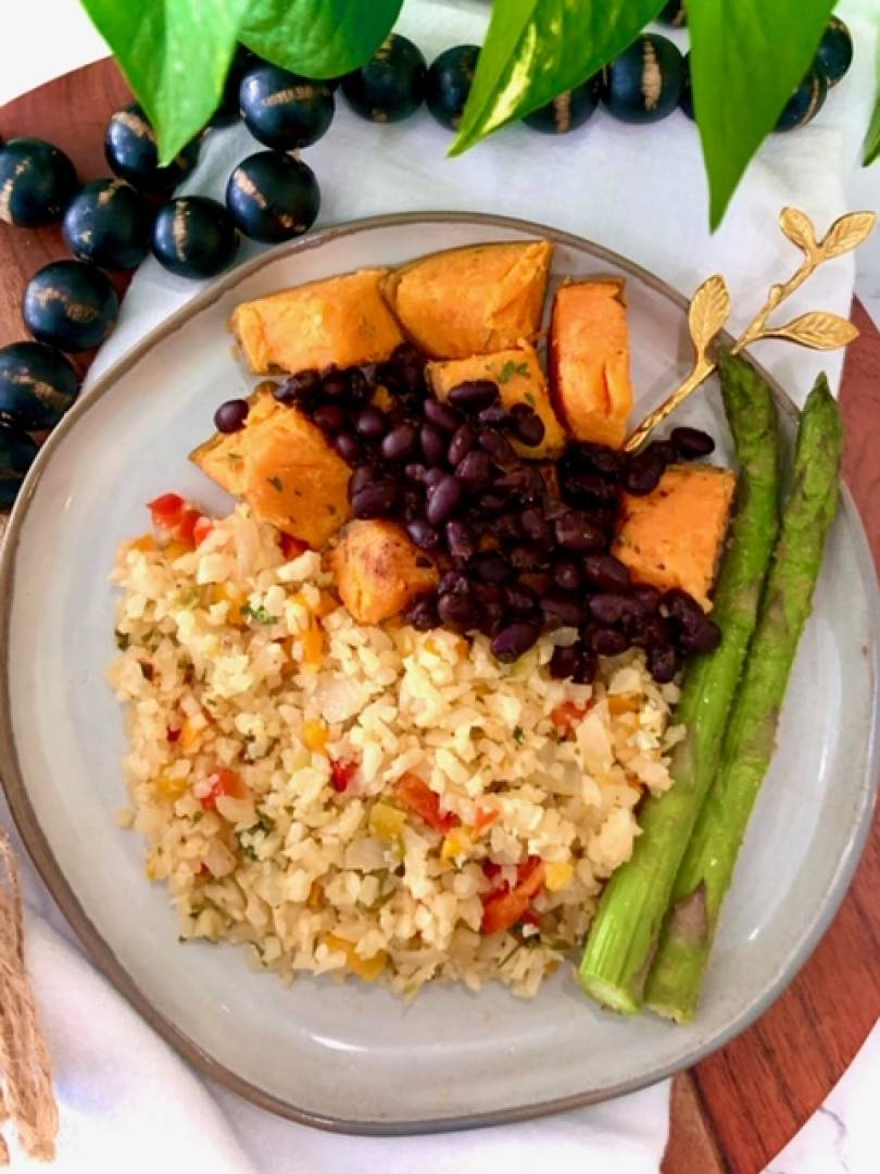 Black Beans, Sweet Potato, Cauliflower Rice and Asparagus