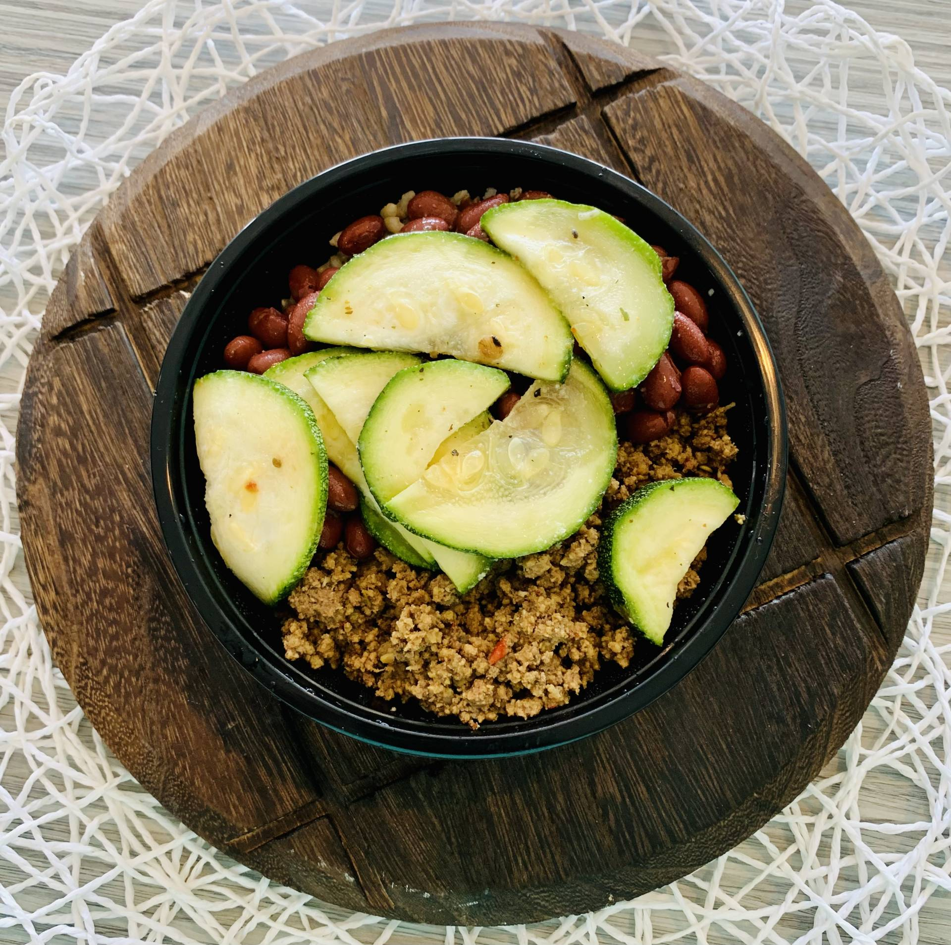 Ground Beef, Red Beans, Wild Rice, Zucchini