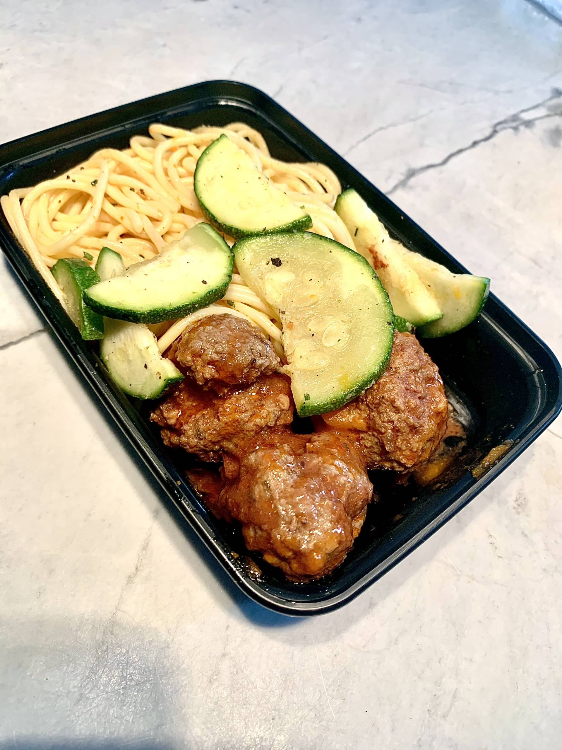 Beef Meatballs, Pasta and Zucchini