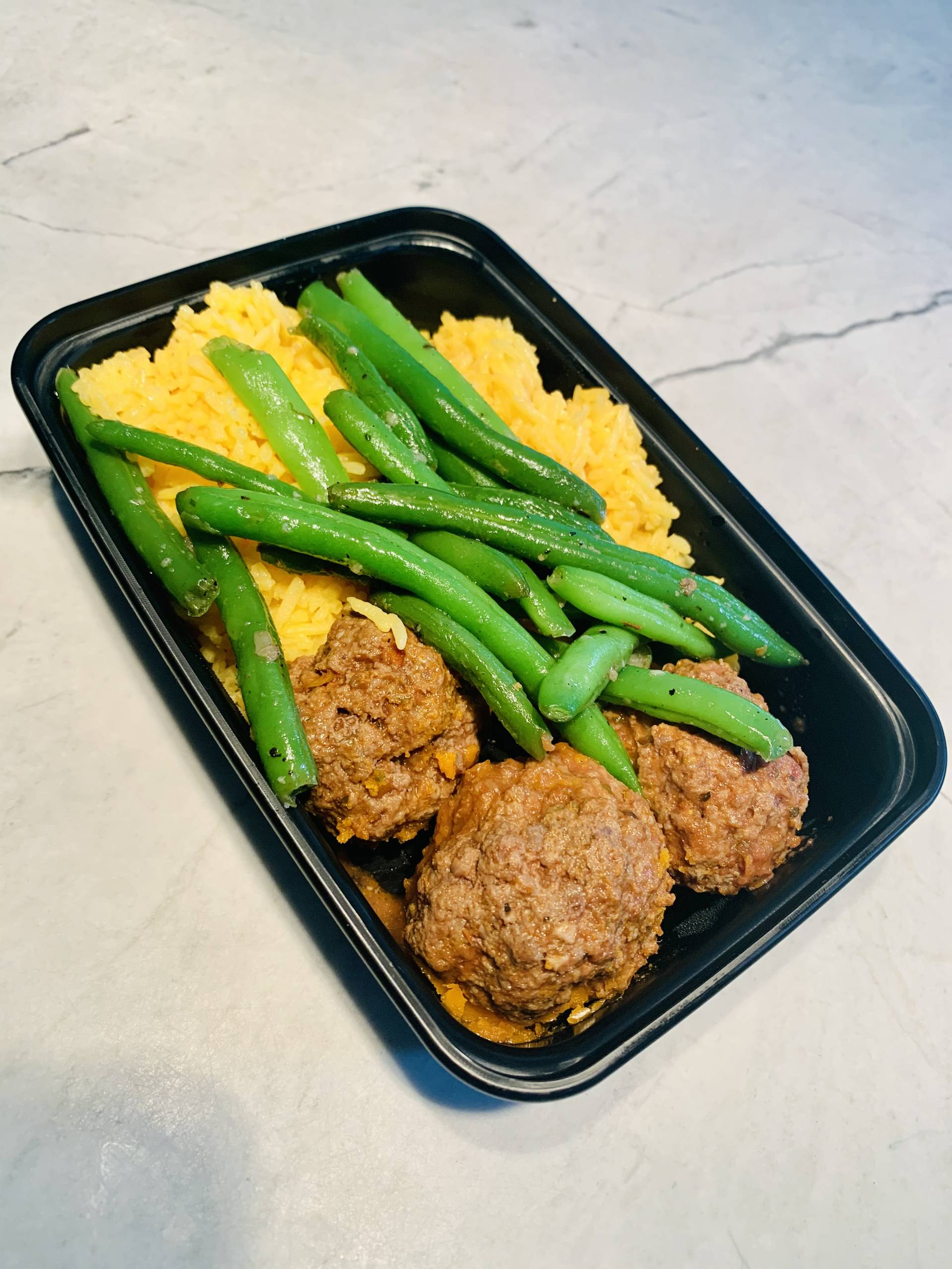 Beef Meatballs, Yellow Rice and Green Beans