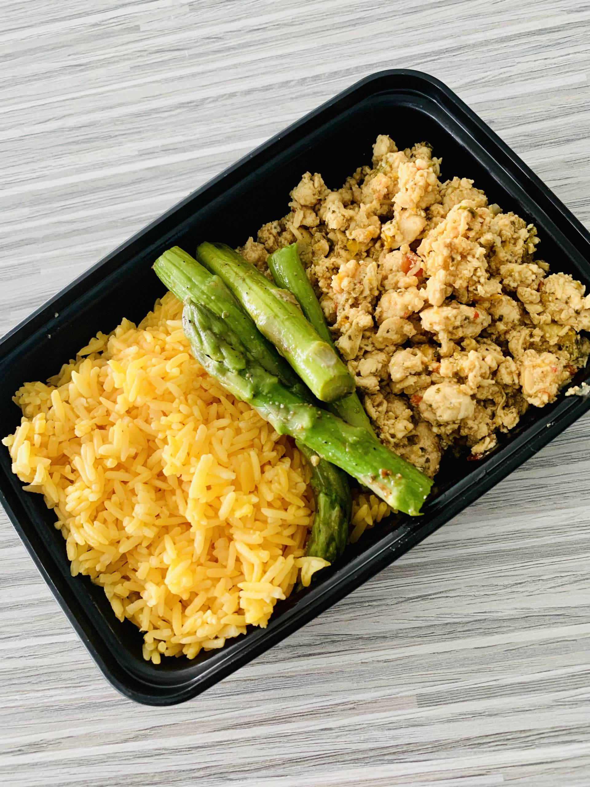Ground Chicken, Yellow Rice, Asparagus