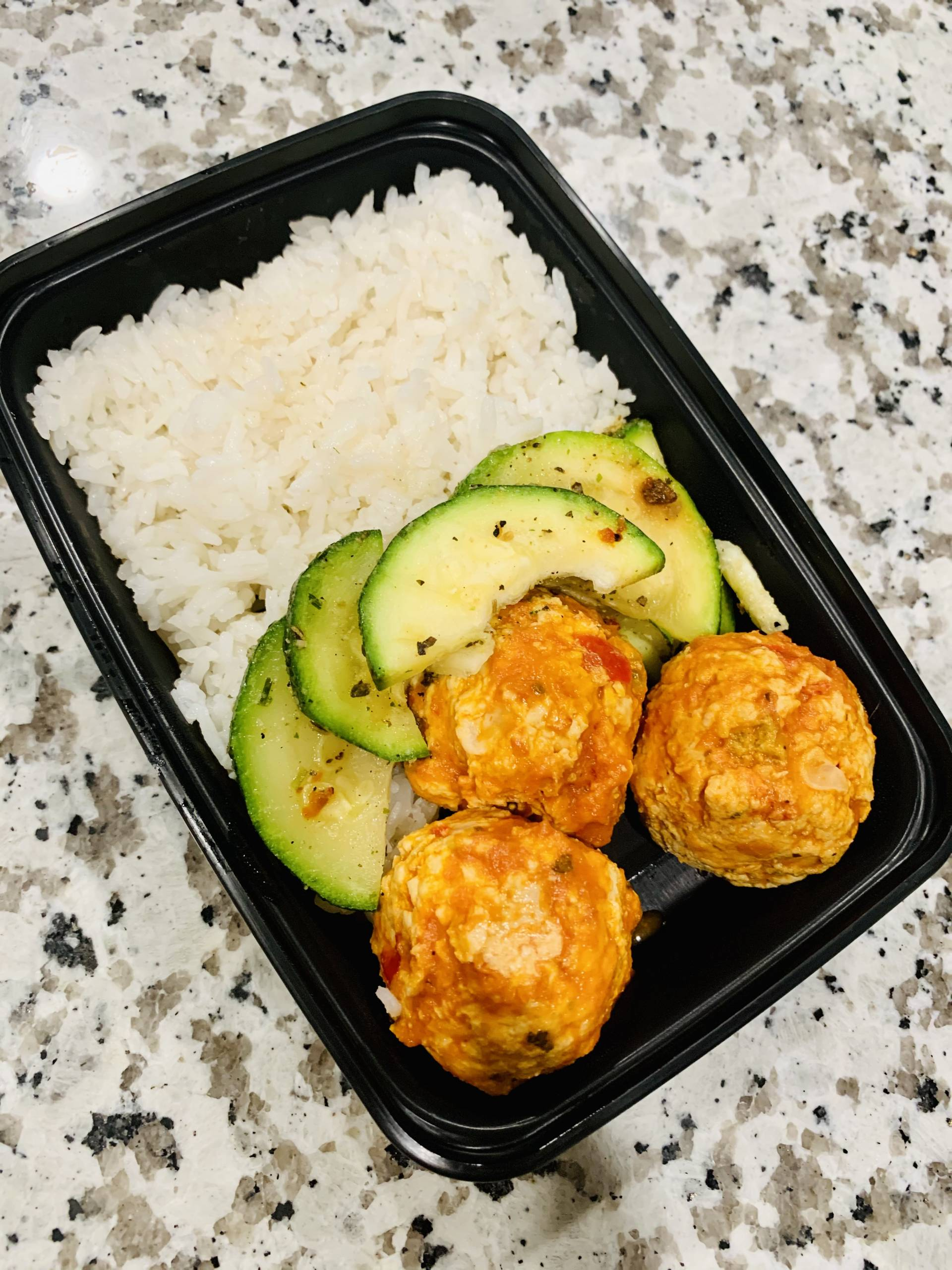 Chicken Meatballs, Jasmine Rice, Zucchini