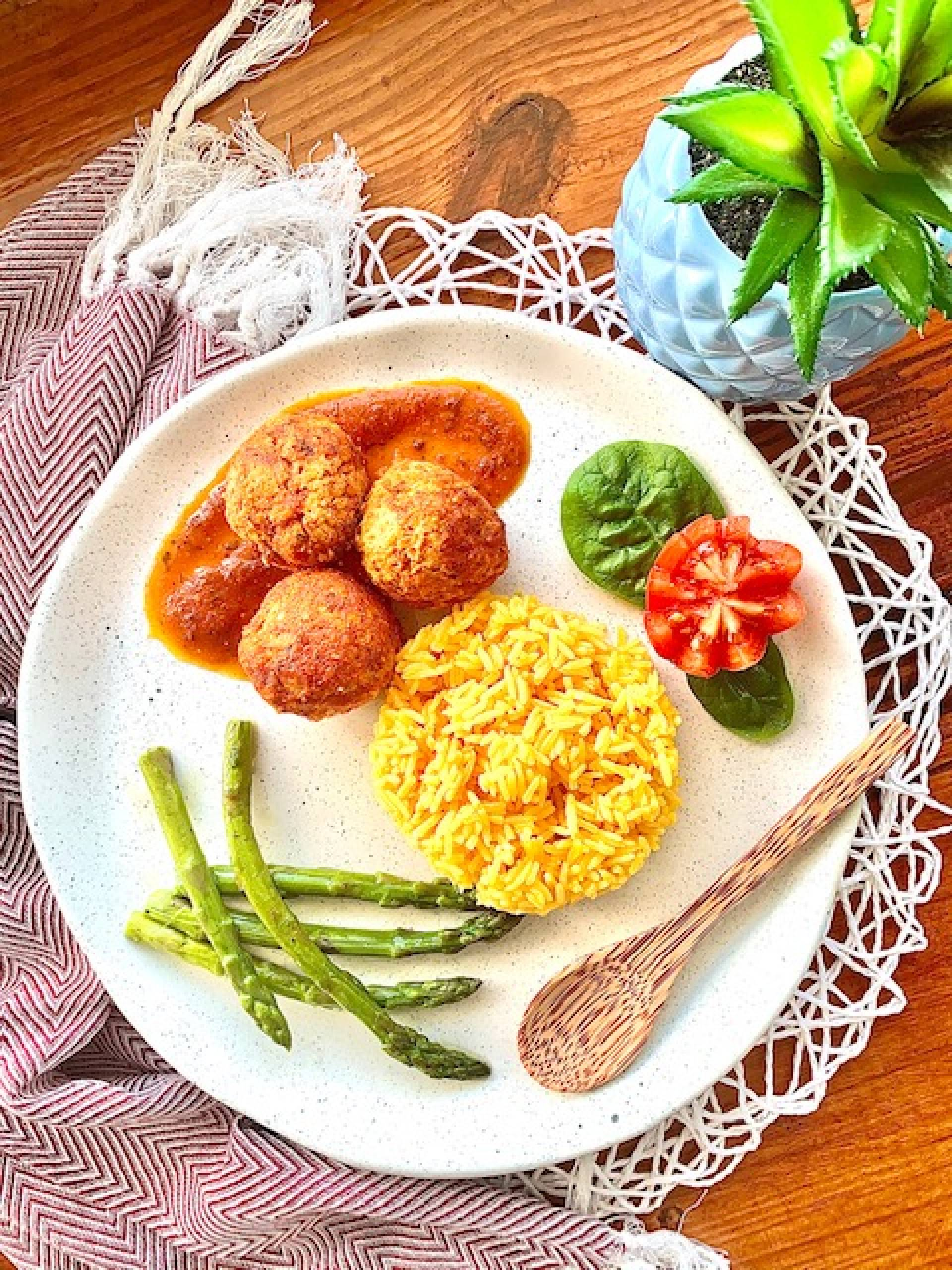 Chicken Meatballs, Yellow Rice, Asparagus