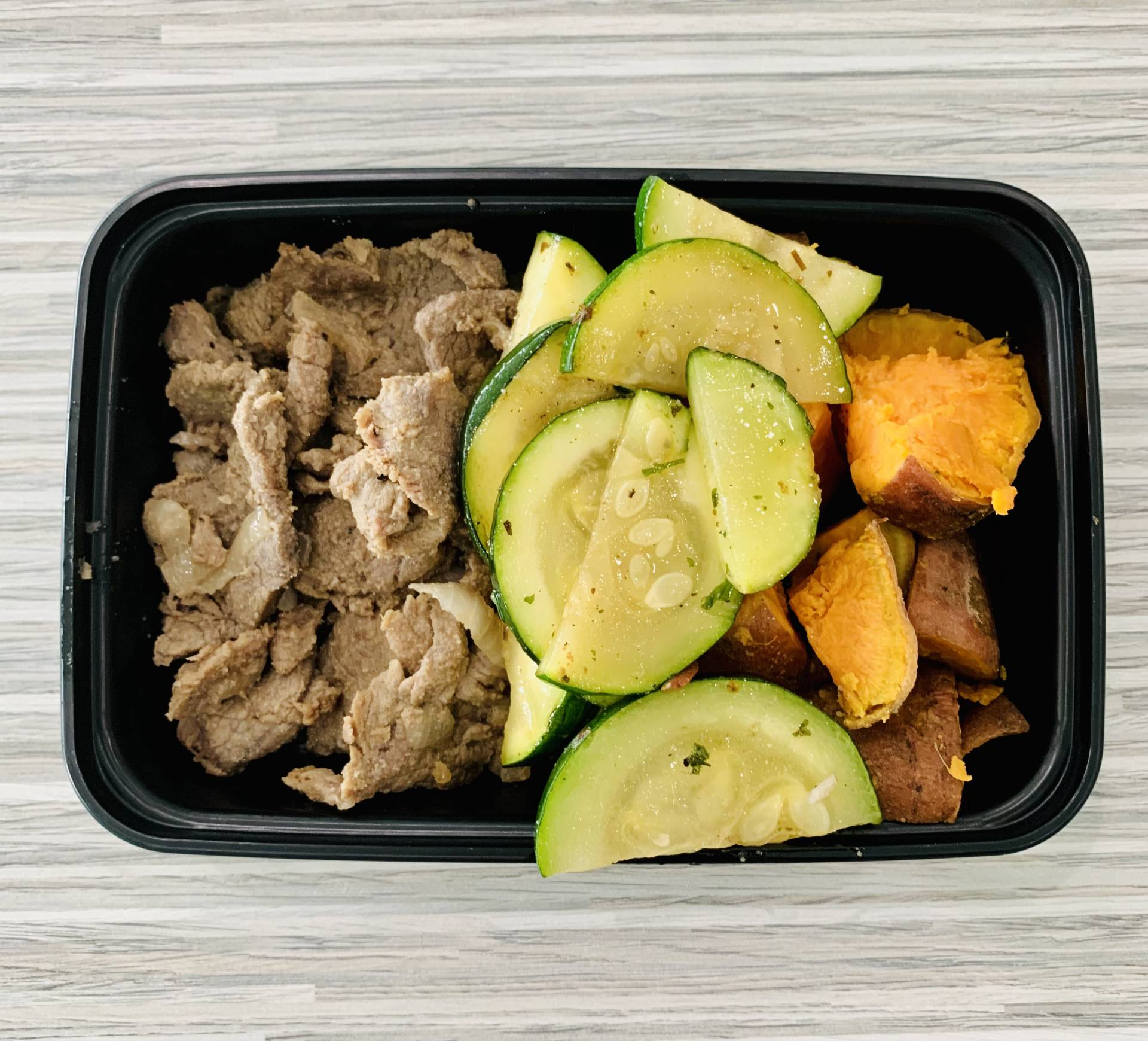 Steak, Sweet Potato, and Zucchini