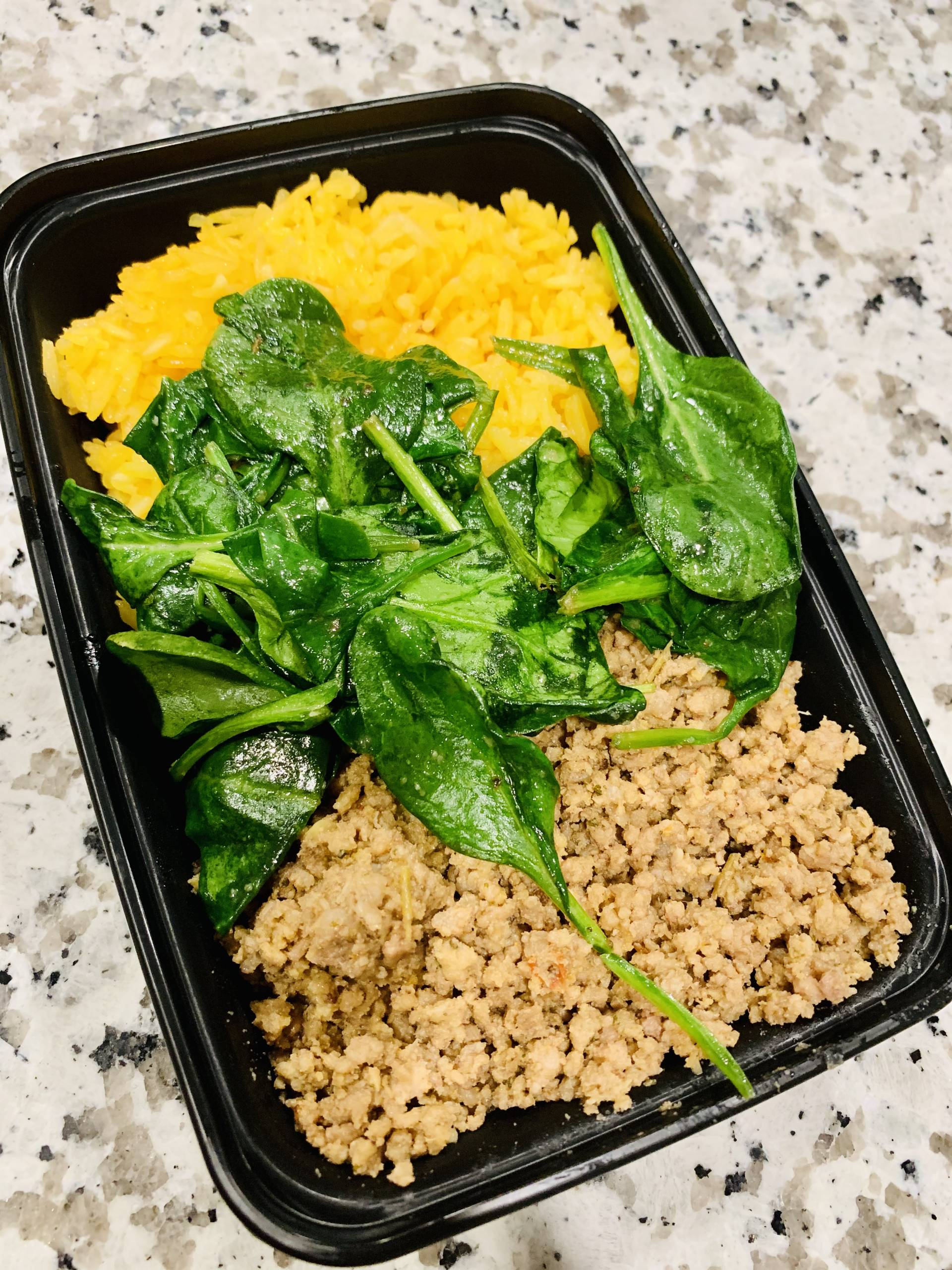 Ground Beef, Yellow Rice and Spinach
