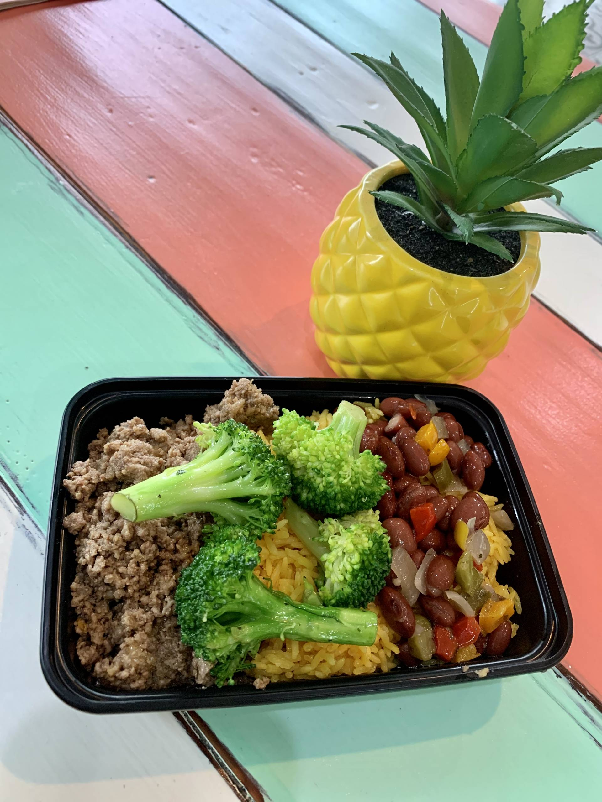 Ground Beef, Yellow Rice, Red Beans and Broccoli