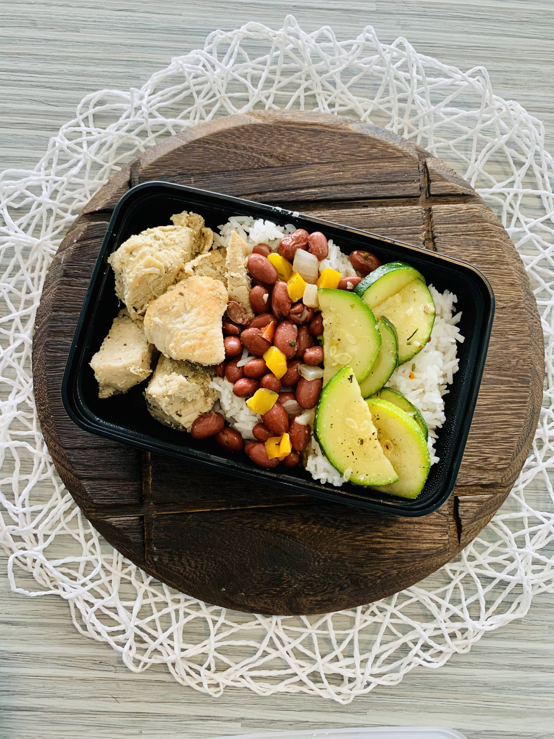 Grilled Chicken, Jasmine Rice, Red Beans and Zucchini