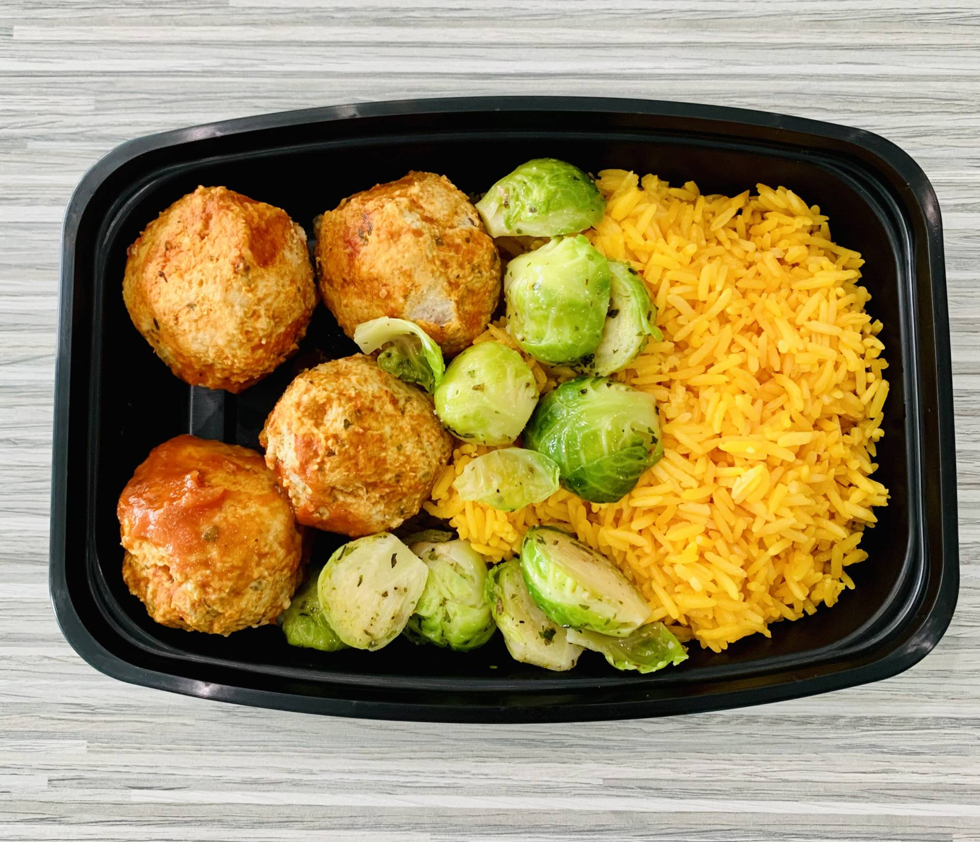 Turkey Meatball, Yellow Rice and Brussels Sprouts