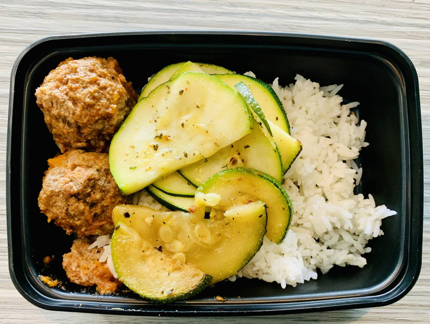 Beef Meatballs, Jasmine Rice and Zucchini