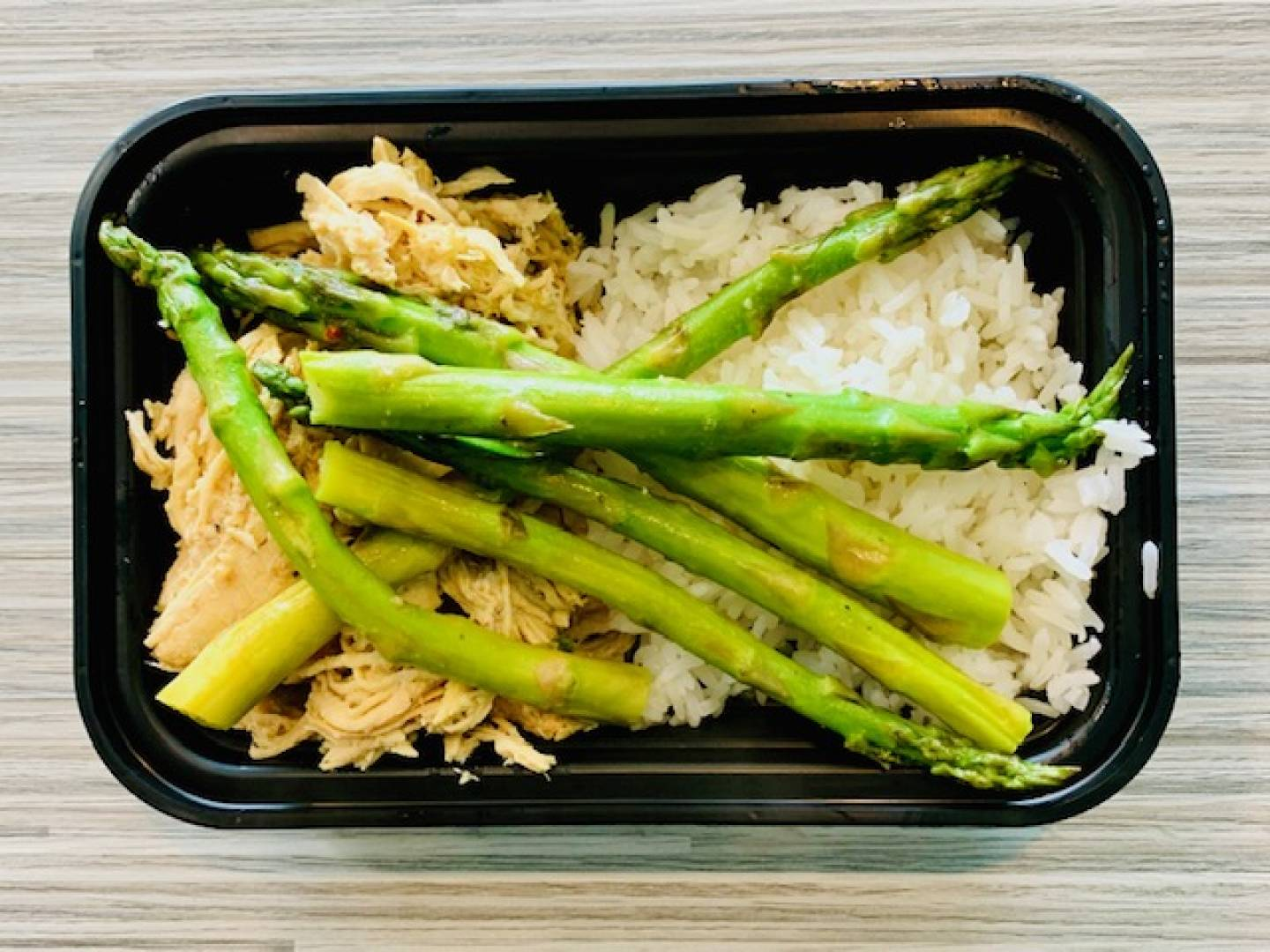 Shredded Chicken, Jasmine Rice, Asparagus