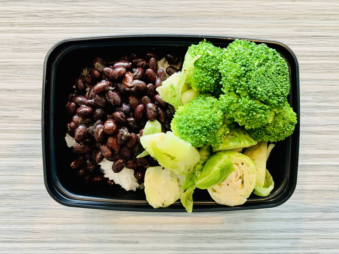 Black Beans, Jasmine Rice, Brussels and Broccoli