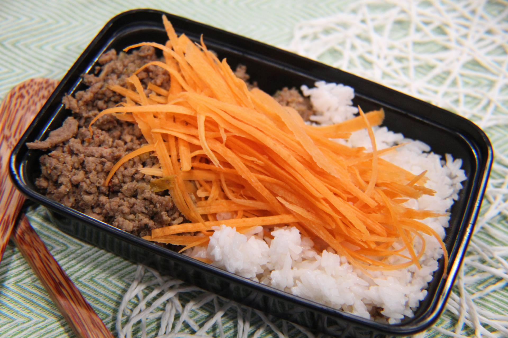 Ground Beef, Jasmine Rice and Carrots