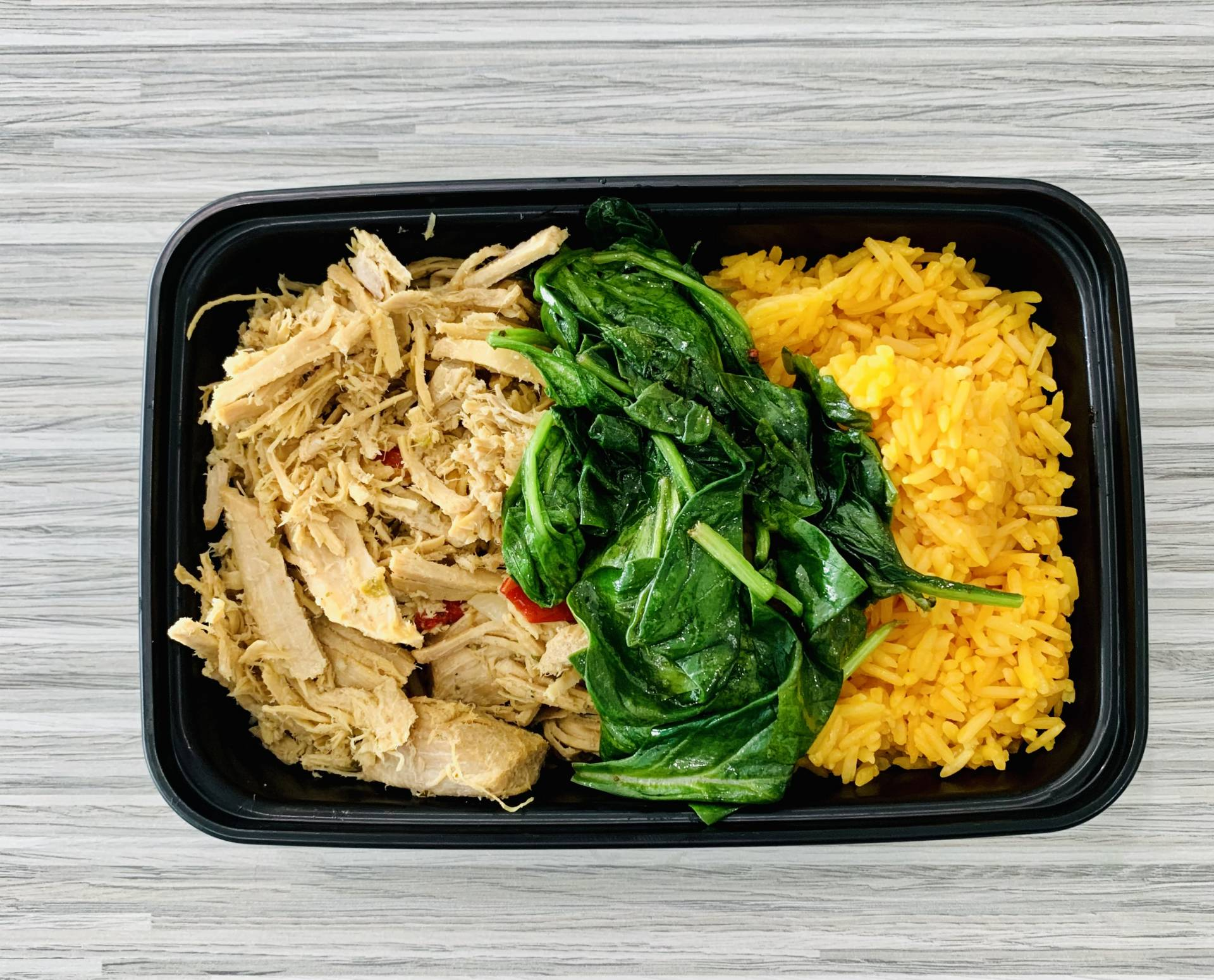 Pulled Pork, Yellow Rice and Spinach