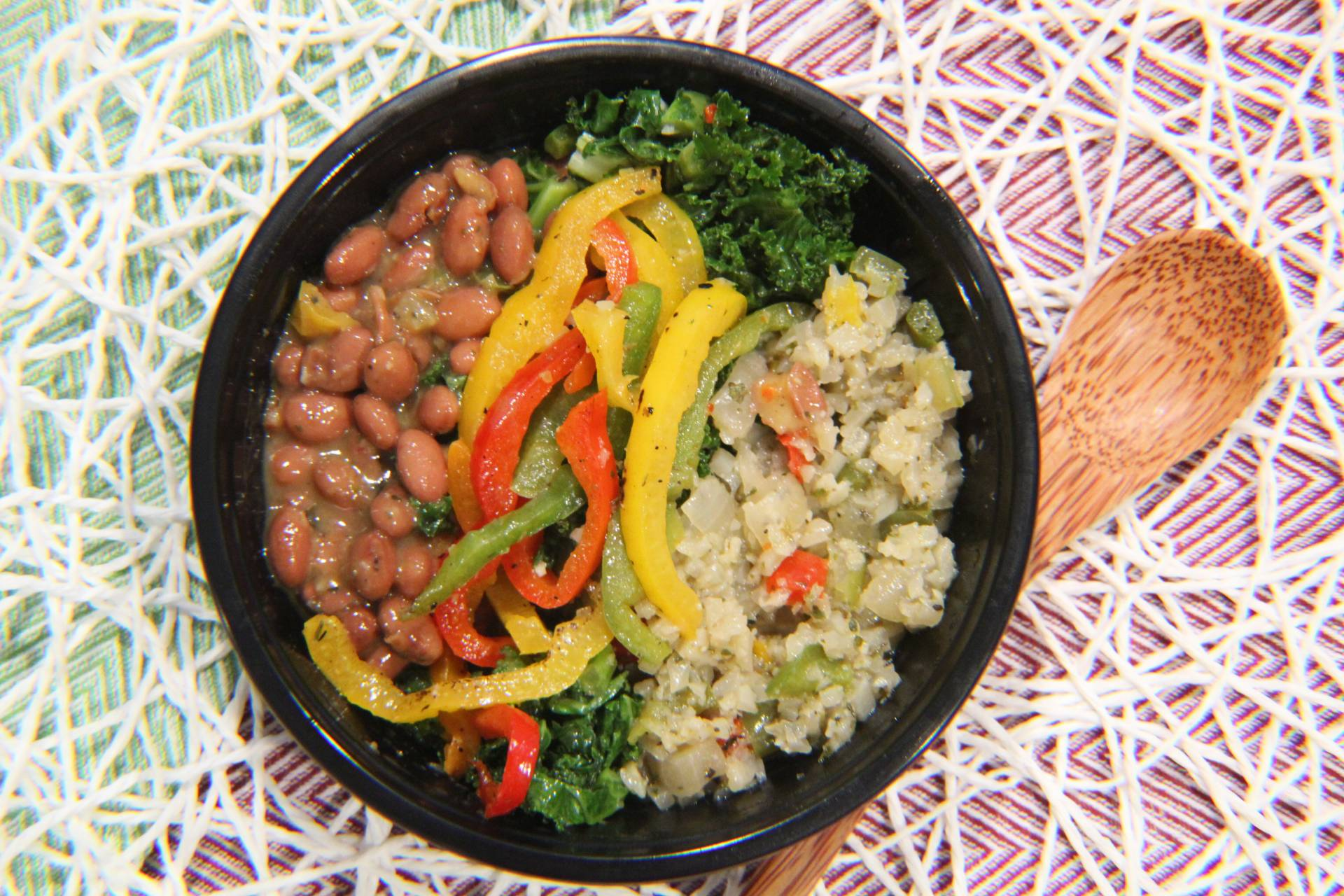 Red Beans, Cauliflower Rice, Tri Color Peppers and Kale