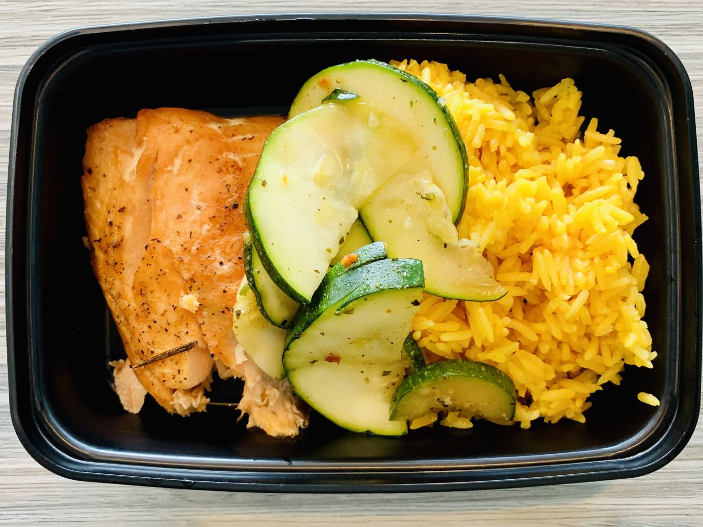 Atlantic Salmon, Yellow Rice and Zucchini