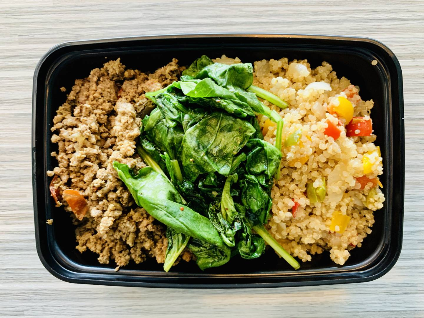 Ground Beef, Quinoa and Sautéed Spinach