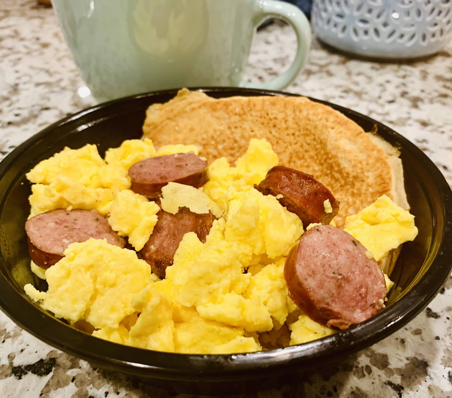Scramble Eggs, Sausage and Protein Pancakes