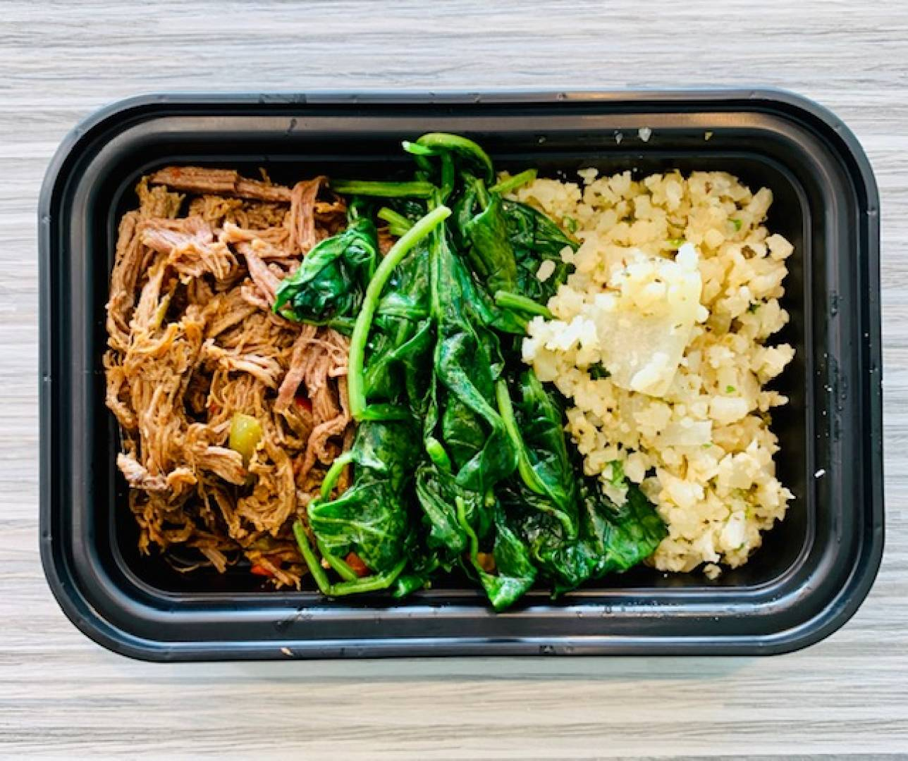 Ropa Vieja, Cauliflower Rice and Sautéed Spinach