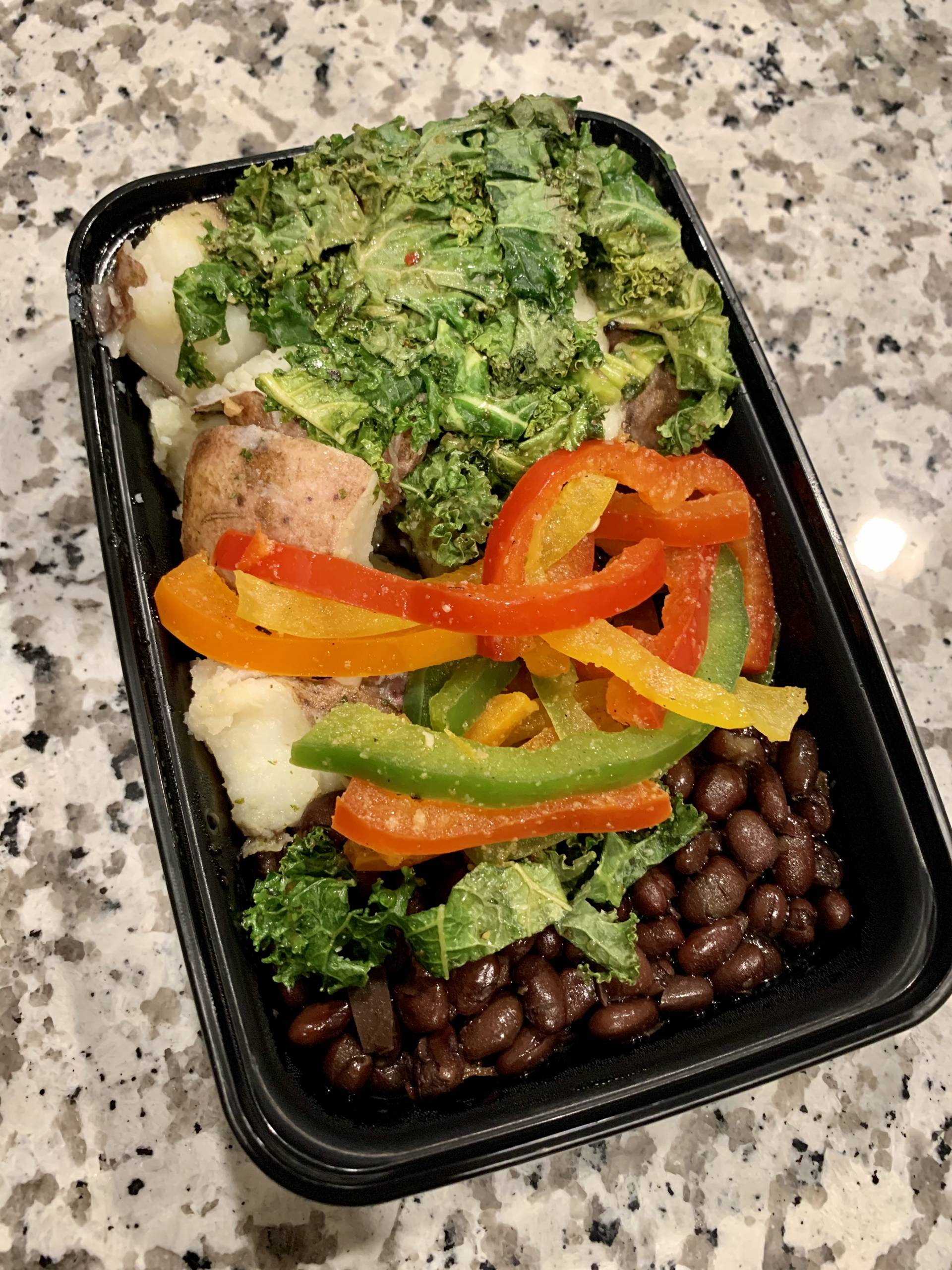 Black Beans, Red Potato,  Peppers and Kale