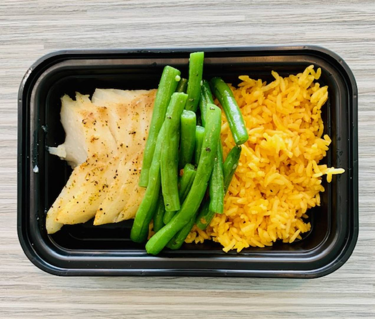 Cod, Yellow Rice and Green Beans